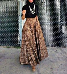 leopard-puffy-maxi-skirt-hijab-chic-Hijabista fashion looks http://www.justtrendygirls.com/hijabista-fashion-looks/