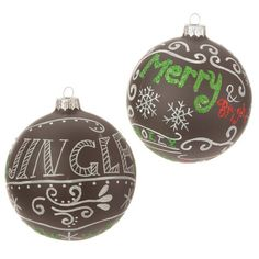 "4"" Chalk Board-Themed Ball Ornaments - Set of 2 ""Merry"" & ""Jingle"""