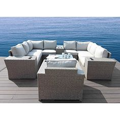 Chelsea collection Outdoor Seating Aluminium Frame Furniture For Garden,Backyard,Pool With Cushioned Seat By Century modern outdoor ( 13 Piece Cup Table Conversation Set) Chelsea Gray, Weathered Furniture, Outdoor Seating Areas, Small Patio, Sofa Set, Outdoor Furniture Sets, Garden Furniture, Cushions, Kingston
