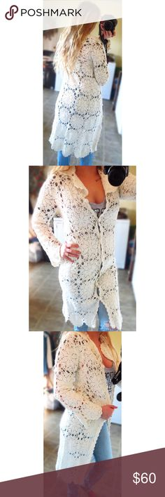 Vintage crochet lace cardigan Beautiful vintage crochet lace cardigan, in excellent condition! This cardigan is beautiful with a long fit and can be worn button up or open. Great quality piece and great for any wardrobe. Can fit sizes XS-Medium nicely. Vintage Sweaters Cardigans