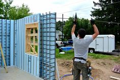 Vertical ICF installation Insulated Concrete Forms, Innovation, Construction, Learning, Houses, Wall, Image, Building, Homes