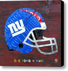 New York Giants Nfl Football Helmet License Plate Art Stretched Canvas Print / Canvas Art By Design Turnpike
