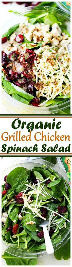 Organic Grilled Chicken Spinach Salad - A single-serve salad that is organic, non-GMO and gluten free! #elevatesuperfoods #ad