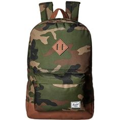 Herschel Supply Co. Heritage (Woodland Camo/Tan Synthetic Leather)... ($60) ❤ liked on Polyvore featuring bags, backpacks, camo backpack, laptop backpacks, camo laptop backpack, faux leather backpack and day pack backpack