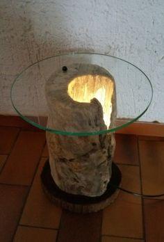 Table de chevet bois flotté / verre et lampe                                                                                                                                                                                 Plus