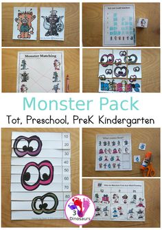 Free Monster Pack - fun monster printables that have preschool, tot, Prek, kindergarten age printables for kids to do with puzzles, matching, no-prep pages and more - 3Dinosaurs.com #prek #kindergarten#preschool #tot #monsterprintables #freeprintables #printablepacks Monster Book Of Monsters, Cute Monsters, Make Your Own Monster, Monster Activities, Math Pages, Kindergarten Age, Matching Cards, Card Patterns, Free Coloring Pages
