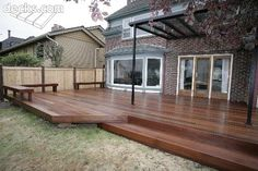 Low elevation deck and seating