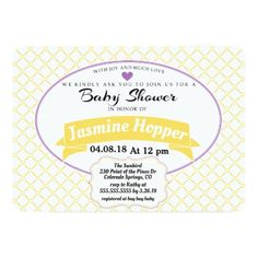 Yellow and Purple Quilted Baby Shower Invitation - baby shower gifts  party giftidea