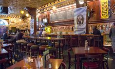 Located behind the Union Station Hotel, The Flying Saucer is a very large, open bar with 83 beers on tap and over 120 bottles and counting.