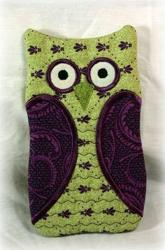 OWL Sunglass/Eye glass holder/case, Green & Purple
