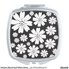 Modern Black And White Ditsy Floral Pattern Compact Mirror
