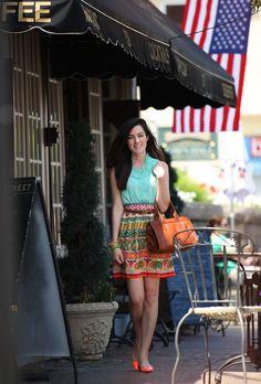 Skirt: Anthropologie. // Shirt: J. Crew. // Shoes: Kate Spade. // Belt: J. Crew (old). // Bag: Frank Clegg. // Bracelets:  Fornash, J. Crew.