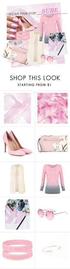 """""""I wear pink for SURE"""" by kayesjr ❤ liked on Polyvore featuring Gianvito Rossi, Valentino, Jakke, Preen, Pink and IWearPinkFor"""