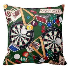 Game Room Darts Billiards Cards Throw Pillow