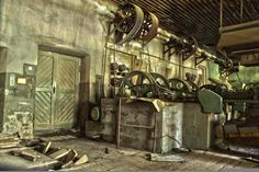 Machines in an old wood factory in Germany  #abandoned #machines #wood #factory #germany #photography
