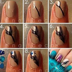 DIY Nails, 23 Creative Nails Tutorials Nude nails with a hand painted peacock feather with purple and blue solid nails nail art Get Nails, Love Nails, How To Do Nails, Pretty Nails, Hair And Nails, Funky Nails, Gorgeous Nails, Peacock Nails, Feather Nails