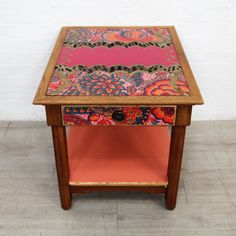 Decoupage Vintage American Oak Side table | Recover Team Decoupage Vintage, Decoupage Paper, Drawer Table, Wooden Side Table, Mineral Paint, Upcycled Furniture, Household Items, Upholstery, Furniture Design