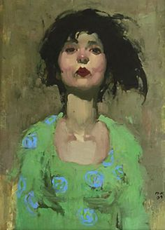 Milt Kobayashi, oil on canvas, 2009 {contemporary figurative abstracted #impressionist art female head woman face portrait smudged painting}