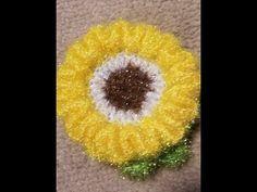 JOY'S U.S.A Crochet 코바늘뜨기 ( 써니해바라기 수세미 만들기) 악어 무늬를 이용헤서 써니해바라기 수세미를 만들기 !! - YouTube