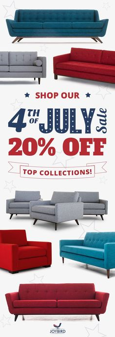 Why be generic when you can make a statement with Mid-Century Modern furniture from Joybird? Take 20% off our top collections during the 4th of July Sale going on now! All Joybird furniture comes with FREE in-home delivery, 365-day home trial, and lifetime warranty!