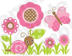 Mod Garden Nursery Baby Girl Childrens Wall Border. ***Amazing Colors in Pink, Green, & Brown. Butterflies, Dragonflies, Ladybugs, and Snail.