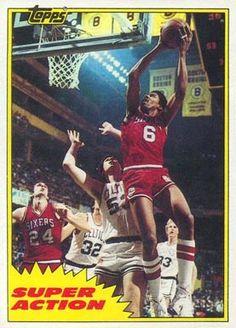 julius erving basketball cards | 1981 Topps Julius Erving #E104 Basketball Card