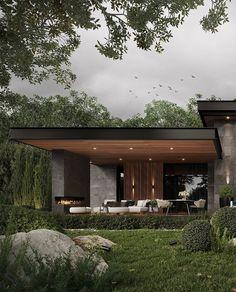 Modern House Facades, Modern Architecture House, Modern House Design, Architecture Design, Classical Architecture, Contemporary Design, Dream House Exterior, Facade House, Exterior Design