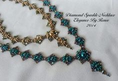 Diamond Sparkle Necklace Tutorial - Free Earrings Tutorial lncluded - 2 PDF Instant Downloads
