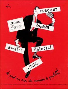Illustration by René Gruau, 1955, De pied en cap des marques de qualité!