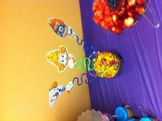Bubble guppies party. Characters on twisty straws
