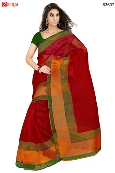 Orange & Red Color Saree With Nice-looking Printed Pallu. Message/call/WhatsApp at +91-9246261661 or Visit www.zinnga.com