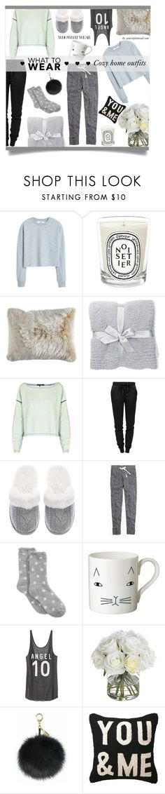 """""""Home comfy couch look"""" by yourstylemood ❤ liked on Polyvore featuring MANGO, Diptyque, Pier 1 Imports, Barefoot Dreams, rag & bone, T By Alexander Wang, Victoria's Secret, Madewell, Charter Club and Donna Wilson"""