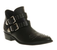 Office Mohawk Cut Out Black Leather - Ankle Boots