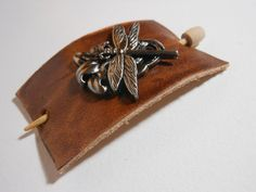 Dragonfly on Leather Shawl Pin ~ Hair Pin