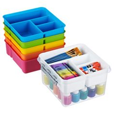 Square Smart Store Tote from the Container store will fit in my cabinets.  Get 6 with insets of different colors - 1 for each group.