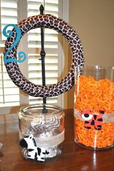 Noah's Ark Birthday Party snack foods: zebra cakes, Cheetos (cheetahs), goldfish