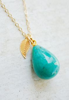 Natural Turquoise Necklace  14KT Gold Fill  by OhKuol, $50.15