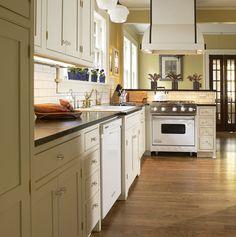 love this kitchen  Plain & Fancy - Cottage Kitchen - Black, White & Chic | Plain & Fancy Custom Cabinetry