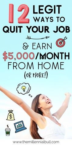 How To Earn Money From Home: 12 Real Work From Home Jobs 12 legit ways to quit y. How To Earn Mone Ways To Earn Money, Earn Money From Home, Earn Money Online, Money Fast, Money Tips, Robert Kiyosaki, Make Easy Money, Quitting Your Job, Work From Home Jobs