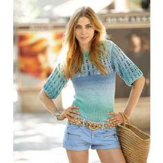 sommerliches Shirt mit Lochmuster aus Tahiti, kostenlose Strickanleitung