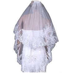 Song Qing Double Layers Sparkle Sequins Edge Bridal Wedding Veil Comb Fitting