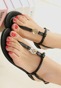 ef359072bb03 Simple Roman Style T-shape Badge Thong Flats Sandals Fresh Shoes