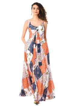 e03de1862b9 Lace-up floral patch print georgette dress-CL0058699 Homecoming Dresses
