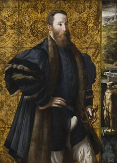 Pradr. A portrait of the Count of San Secondo standing before a curtain. The serene and balanced composition is marked by the character's hieratic appearance and the sumptuous golden backdrop, inspired by Raphael's Portrait of Julius II. Also remarkable is the landscape appearing on the right, with classical buildings and books resting on the windowsill.