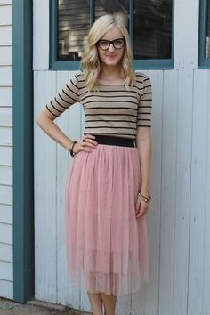 Our (dailycharms.com) tulle blush ballet skirt, a striped shirt, and cat eye bonlook glasses. Isn't she adorable? | BeautyandBows