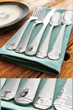 Eight complete table settings. Made of heavyweight stainless steel for long-lasting everyday use. Adorned with an icon representing the best of the American outdoors, #afflink #flatware #cabin #lodge #stainlesssteel #silverware