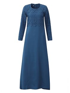 Women Long Sleeve Lace  Fake Two Piece Elegant Maxi Dresses