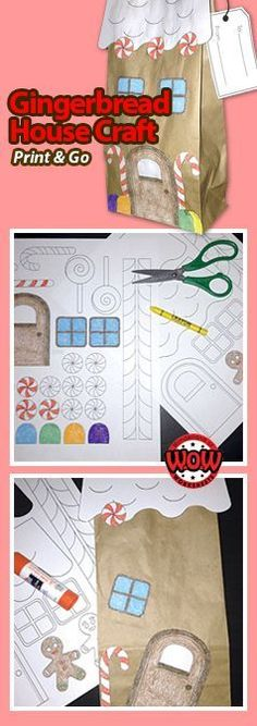 Gingerbread House Craft - Print and Go! Great for talking home gifts to parents, and secret Santa gifts. Use during class winter party activity or art center.