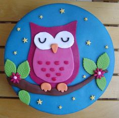 Blue & Magenta Night Owl Cake