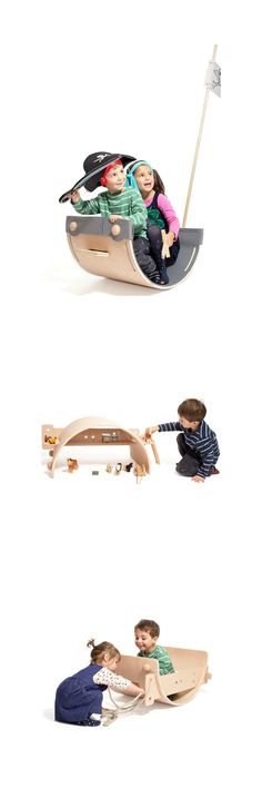 Designer Chantal Bavaud thought of Nanu as a modern, adaptable wooden arch toy that will encourage creativity. The goal is to boost your kids' initiative by providing them with an object that could be interpreted as anything they wish.